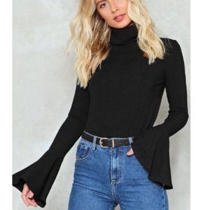 NWT - Black Flare Turtleneck Sweater